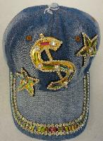 Denim Hat with Bling [$] Gold